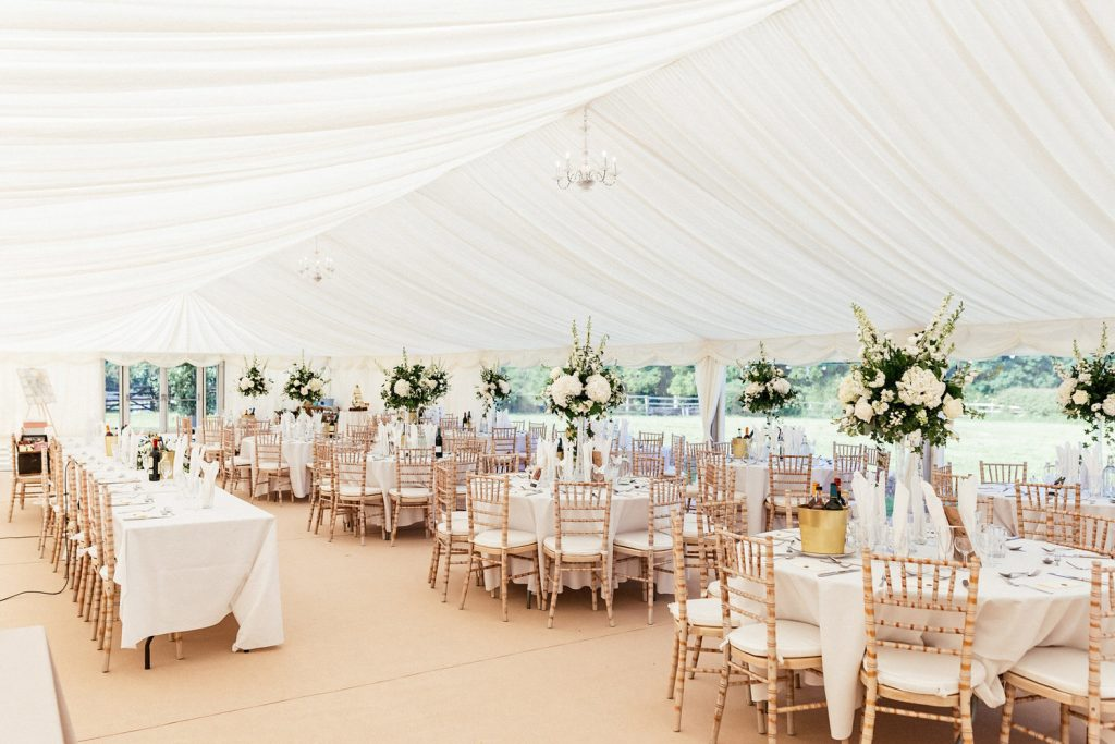 marquee floral table centrepieces