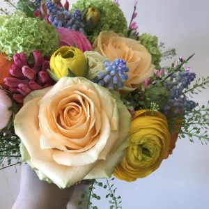 seasonal flowers in bridesmaid bouquet