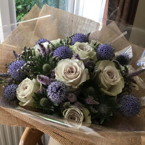 rose, flowering mint and thistle bouquet