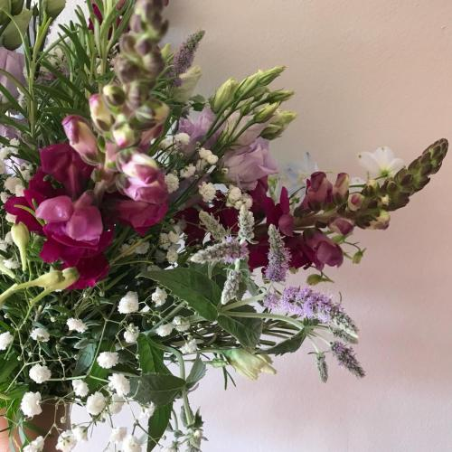 fresh flowering mint bouquet